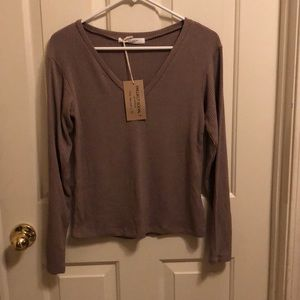 NWT Project Social T v-neck knit top in latte tan